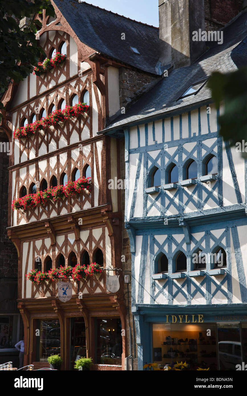 Medieval half-timbered buildings in the main square, Guingamp, Brittany, France - Stock Image