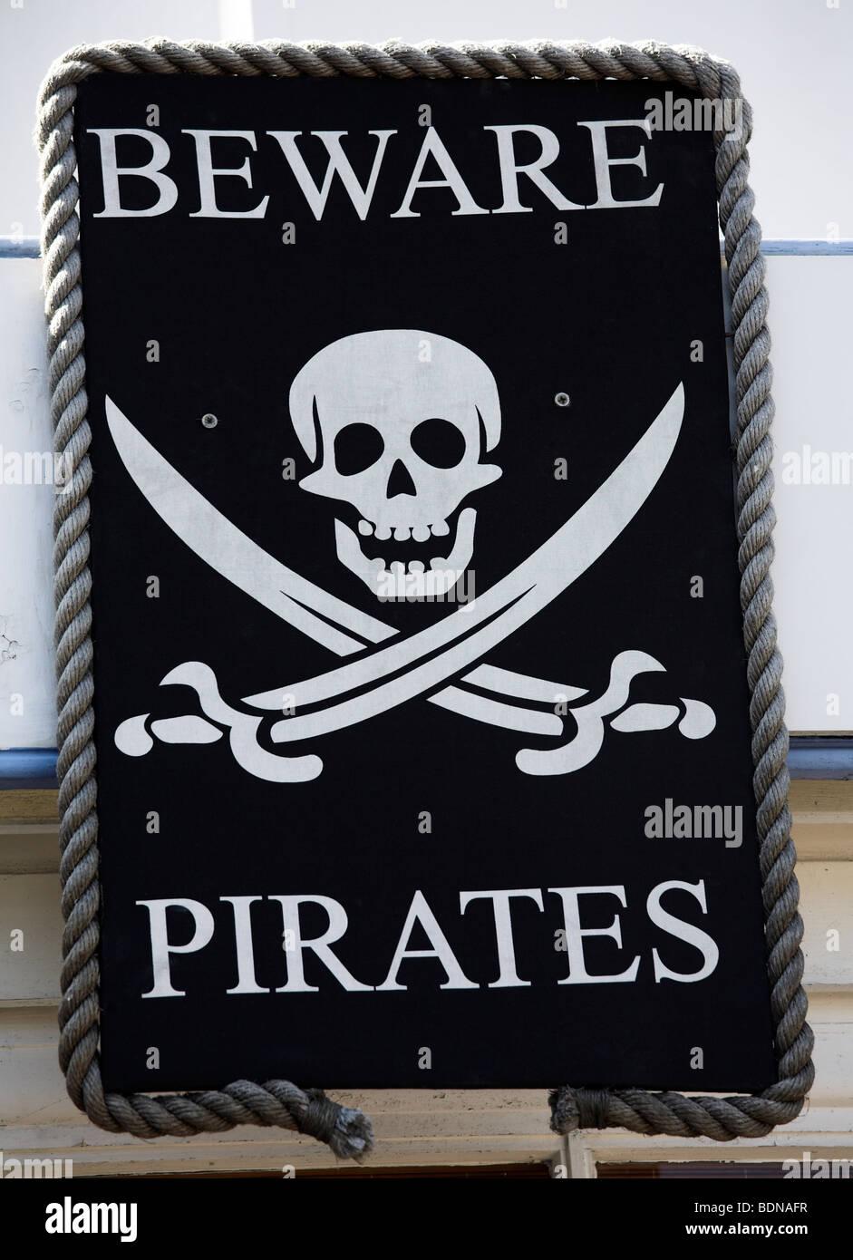 Beware pirates - Stock Image