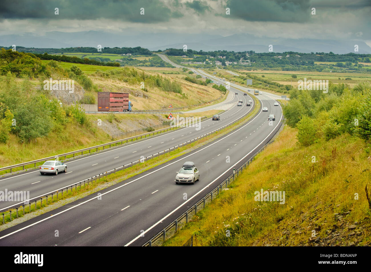 Light traffic on the the A55 dual carriageway expressway trunk road across Anglesey north wales UK - Stock Image