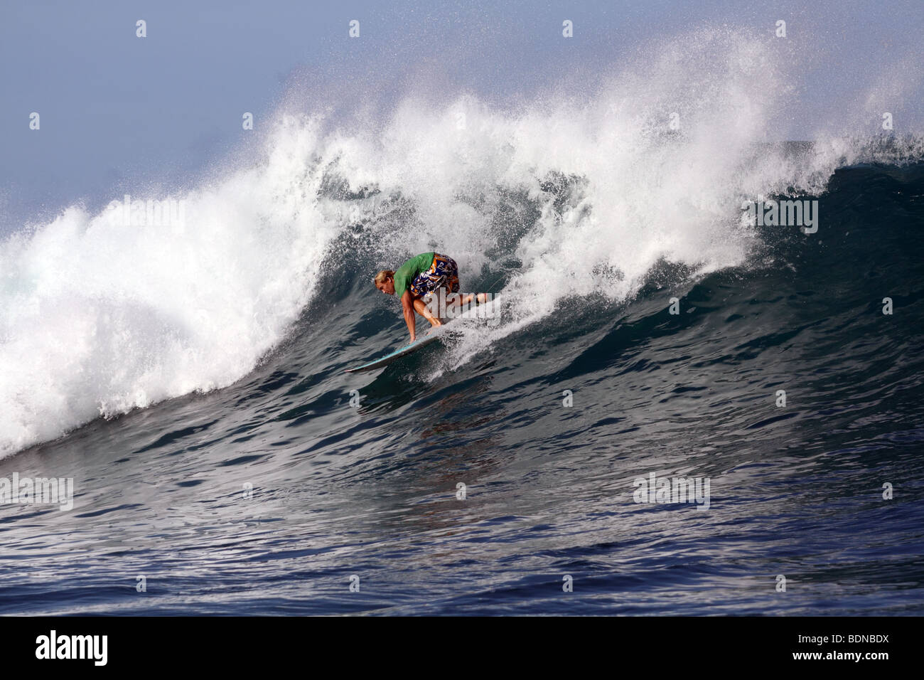 Surfer at Lance's Left in the Mentawai Islands, Sumatra, Indonesia - Stock Image