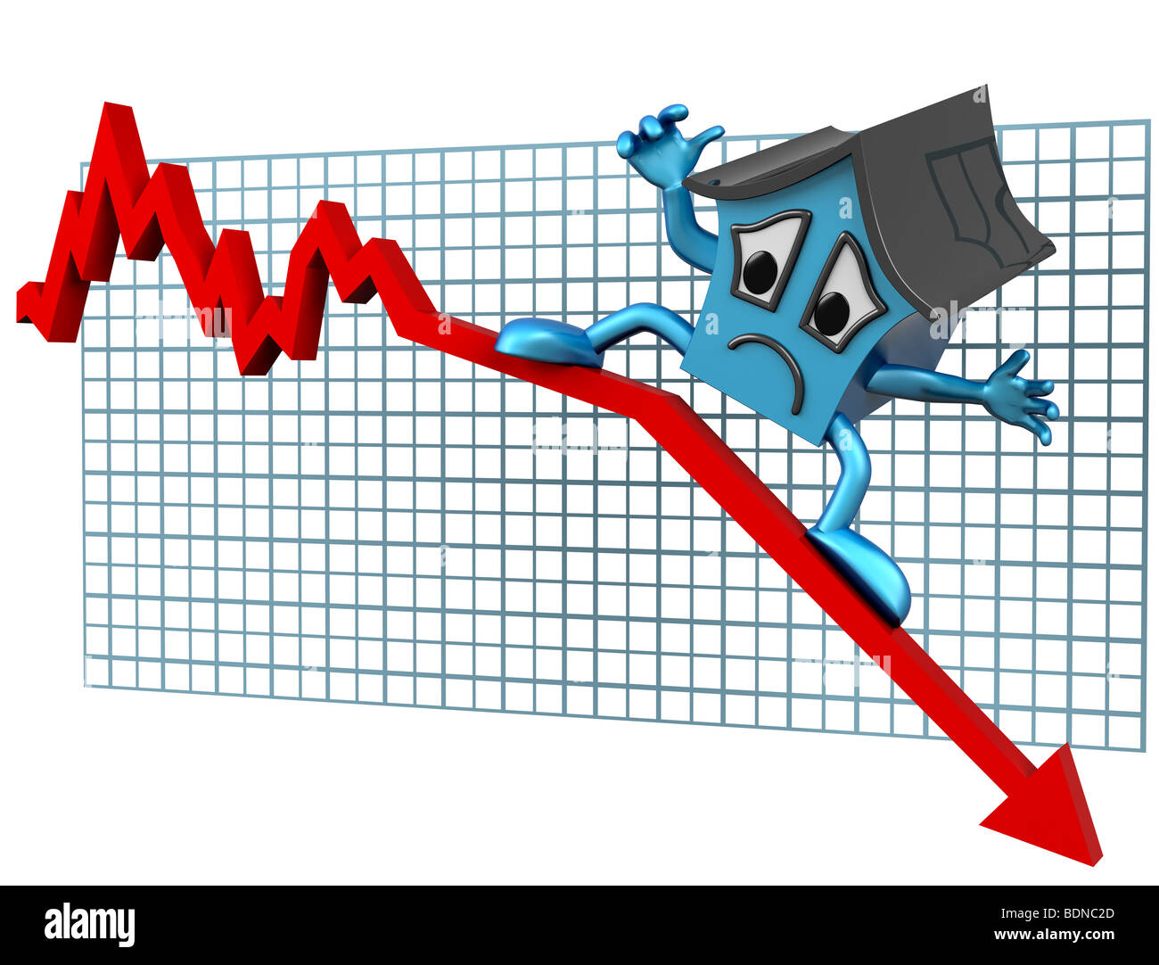 Isolated illustration of a house surfing downwards on a declining graph - Stock Image