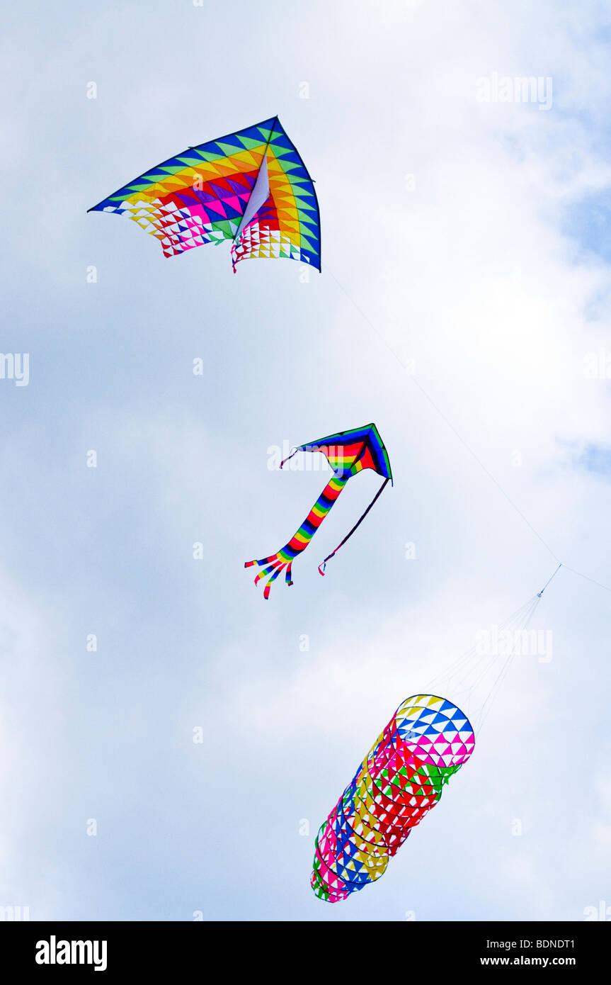 Kites flying in the sky - Stock Image