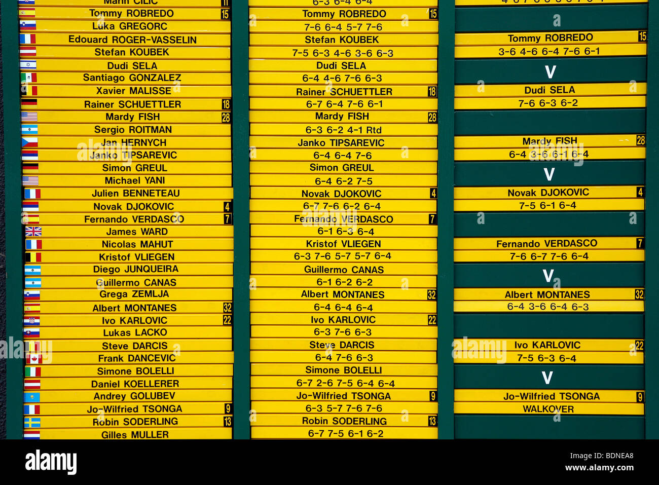 Men's singles draw board detail during the 2009 Wimbledon Tennis Championships - Stock Image