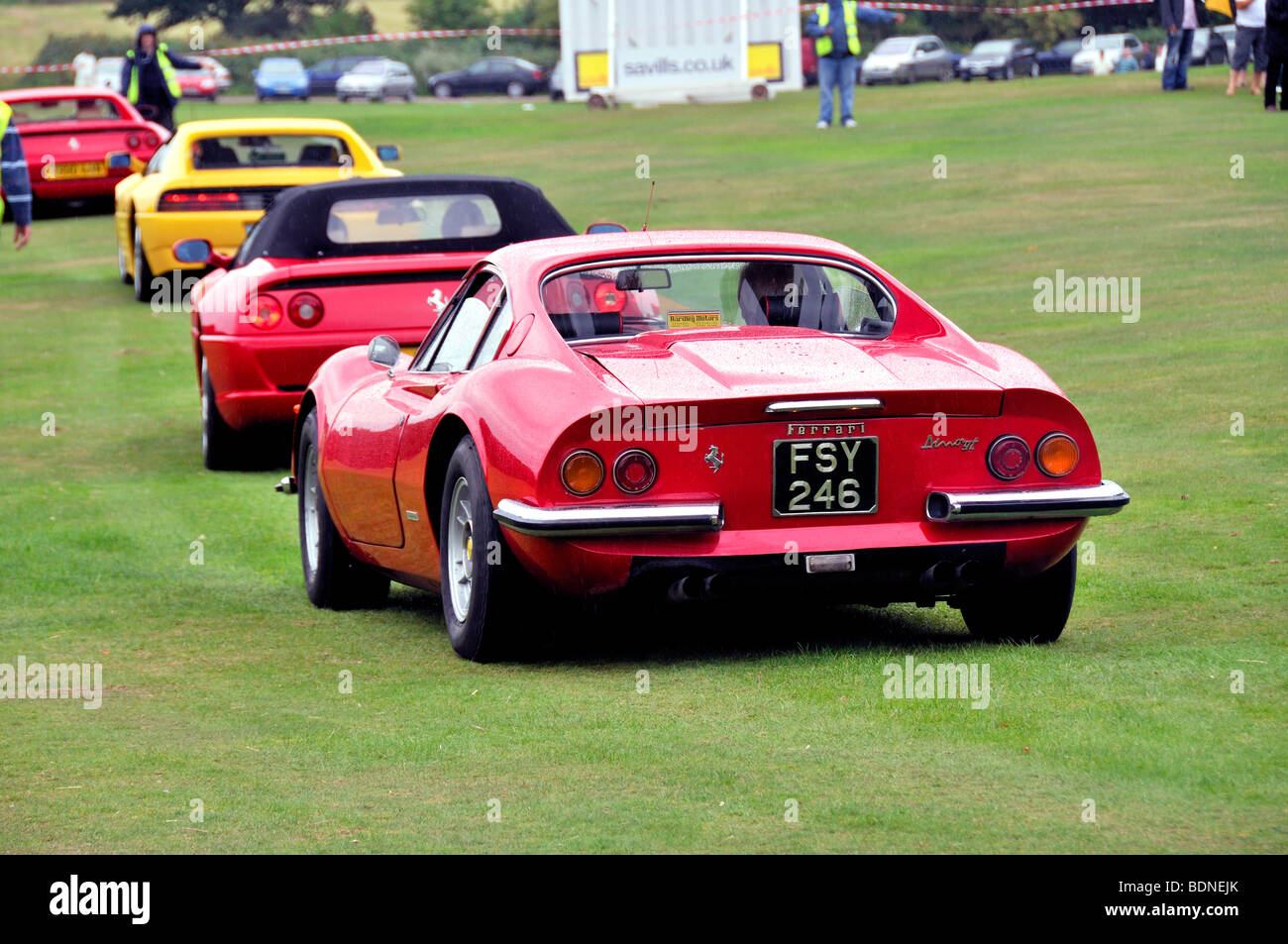 Red Ferrari Dino GT in line with other Ferraris - Harpenden Classics on the Common 2009 - Stock Image