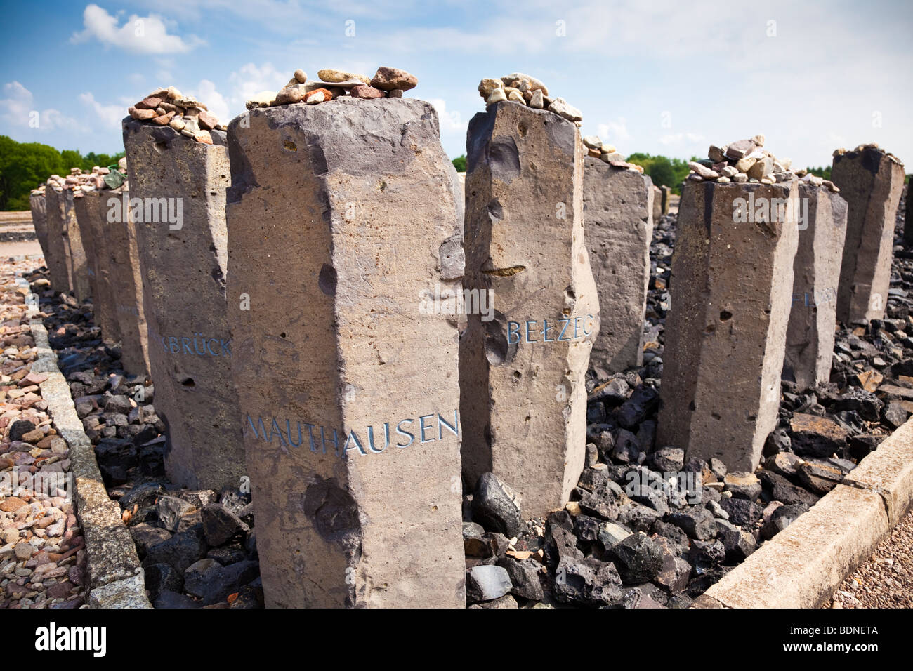 Memorial to the Roma and Sinti people murdered at Buchenwald Nazi Concentration Camp, Ettersberg, Germany, Europe Stock Photo