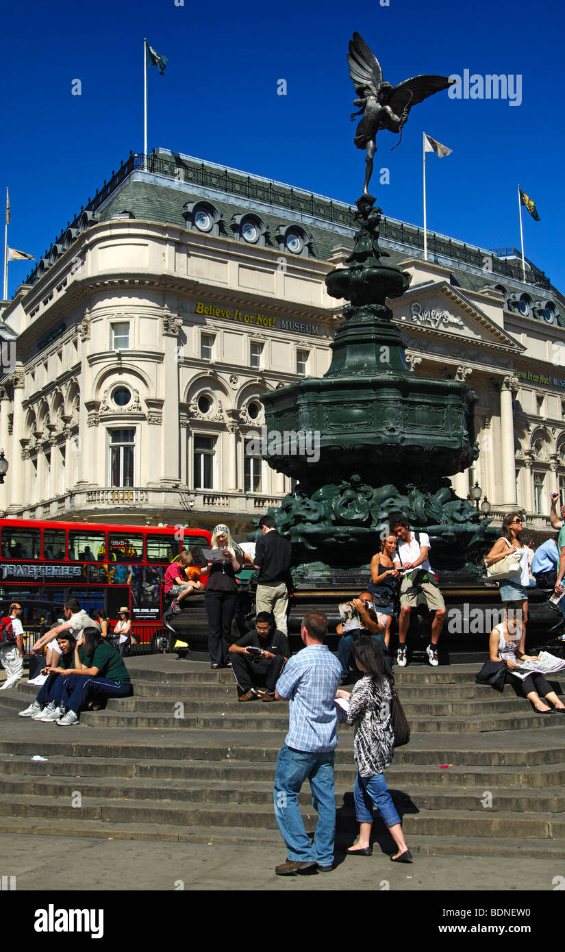 Piccadilly Circus square with the Shaftesbury Memorial fountain and the statue of Anteros, London, United Kingdom - Stock Image