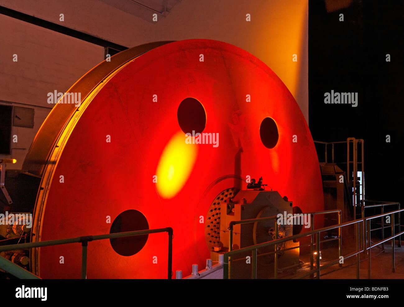 Hoisting machine, illuminated, disused mine Zeche Lohberg, ExtraSchicht 2009 festival, Dinslaken, Ruhrgebiet region, - Stock Image