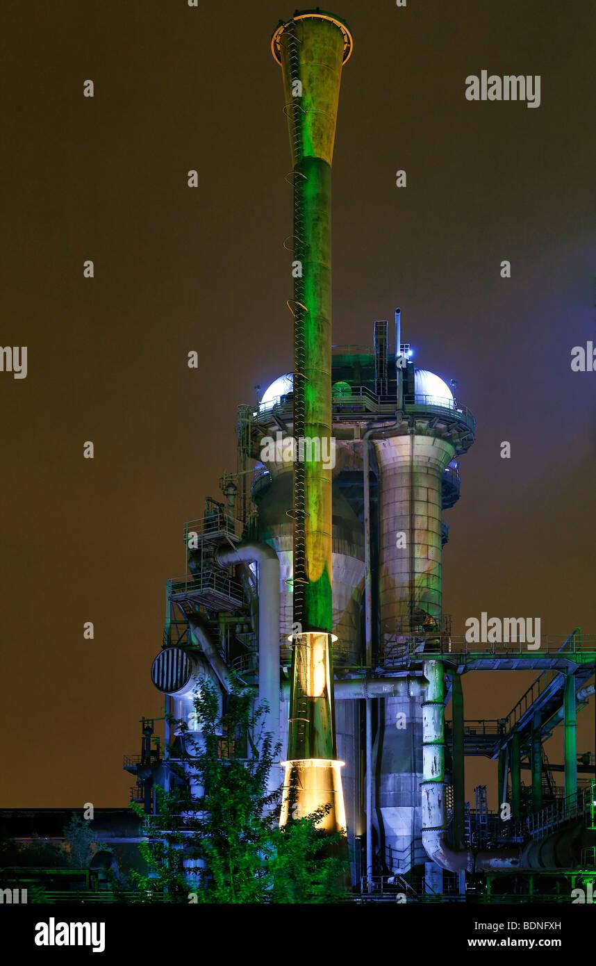 Abandoned smelter, illuminated, ExtraSchicht festival, Landschaftspark landscape park Duisburg-Nord, Meiderich, - Stock Image