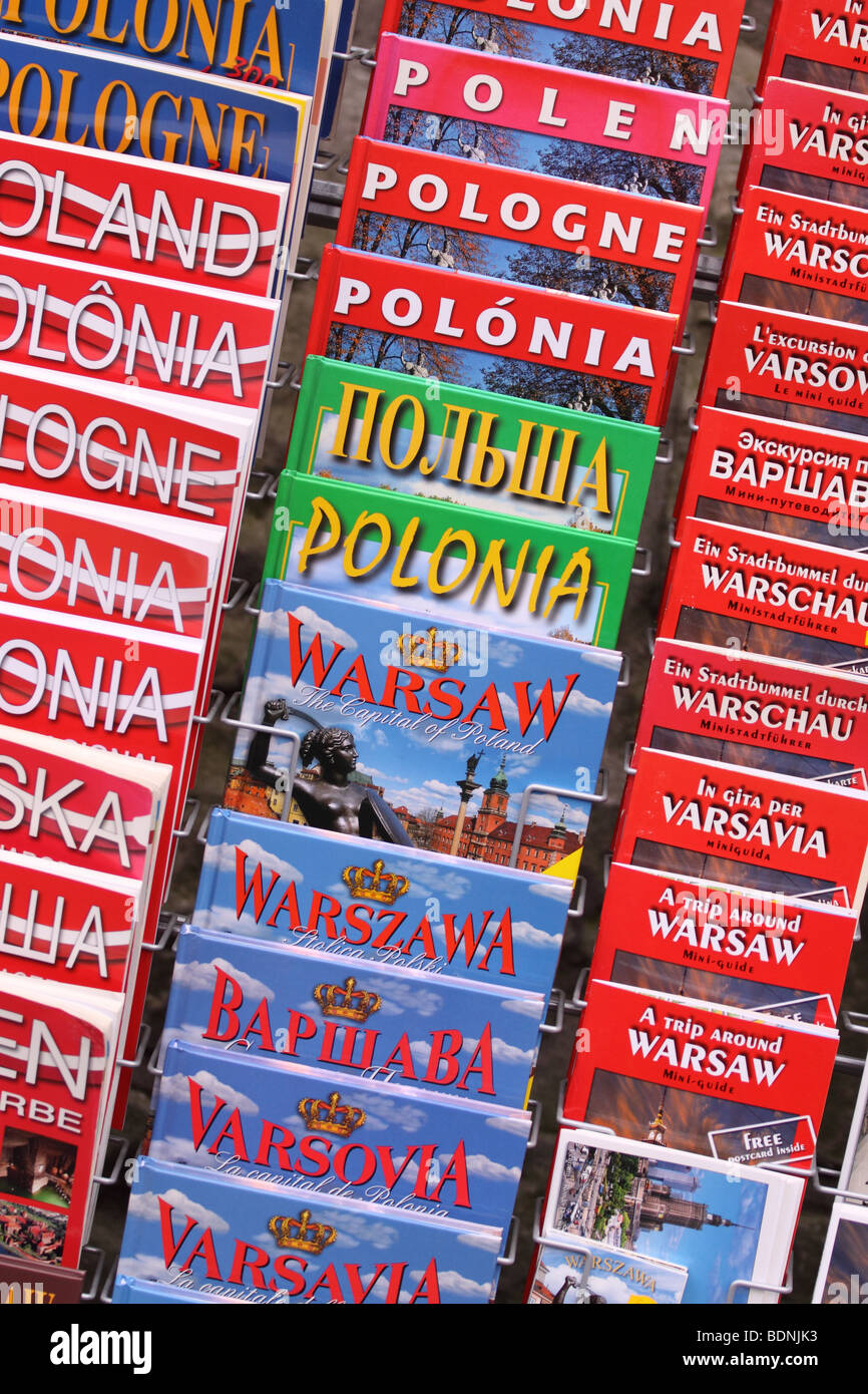 Warsaw Poland tourist visitor travel guide book books for Warsaw Poland in many languages English French Russian Stock Photo