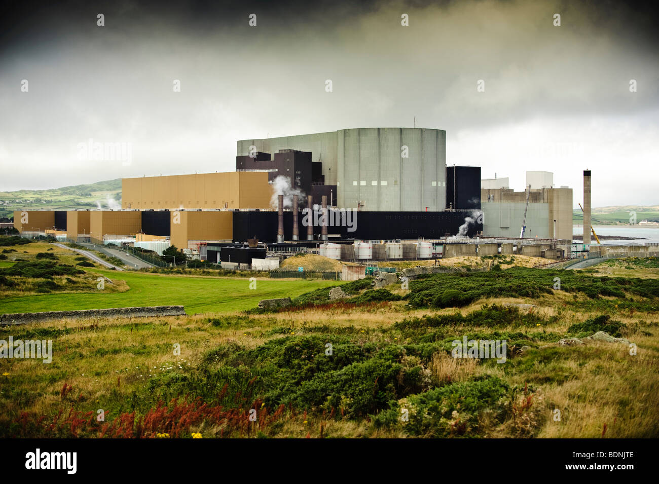 The Wylfa atomic nuclear power station, on the northern coastline of Anglesey, north Wales UK Stock Photo