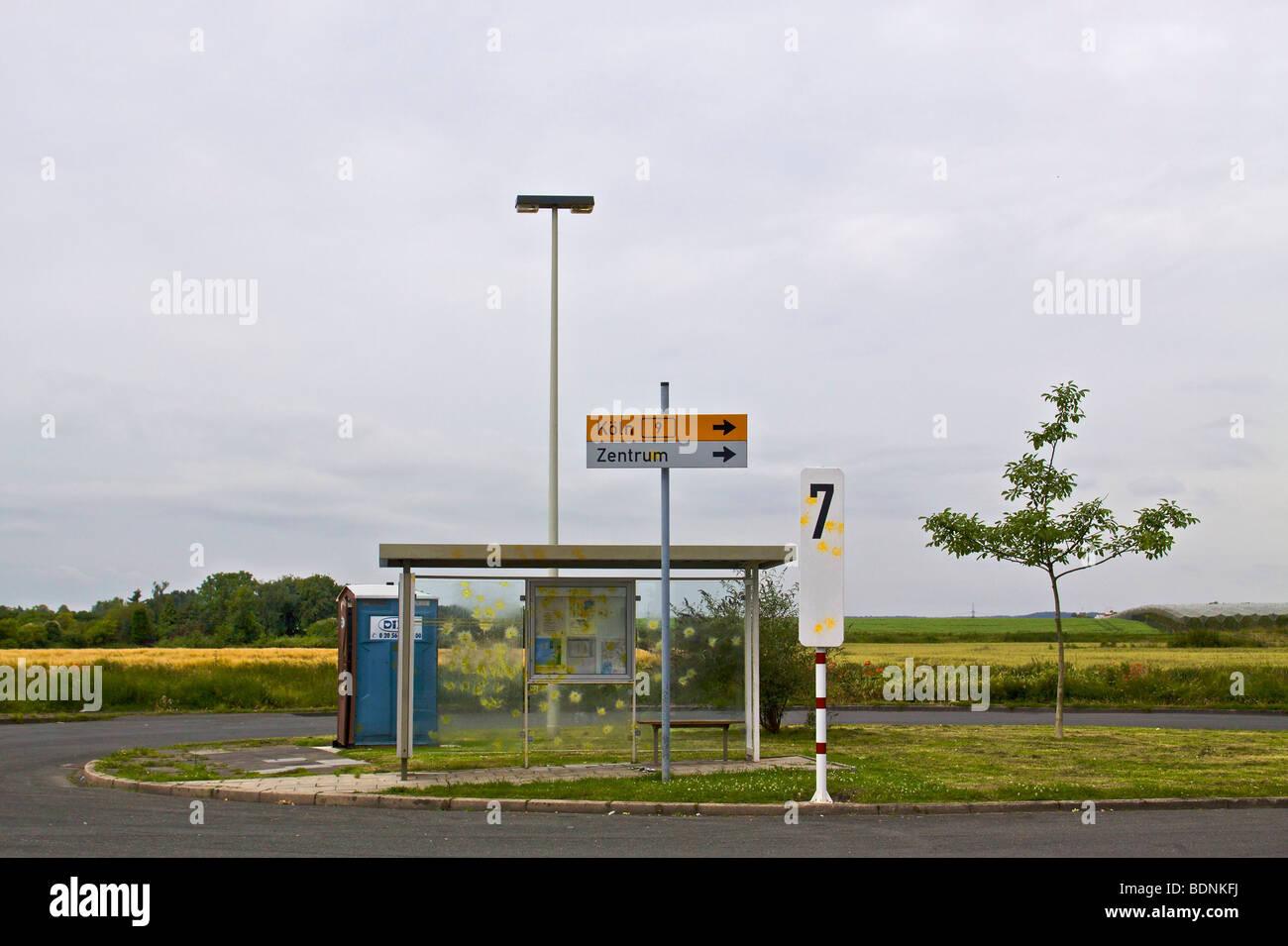 Lonely bus stop on the outskirts of Bonn, North Rhine-Westphalia, Germany, Europe - Stock Image