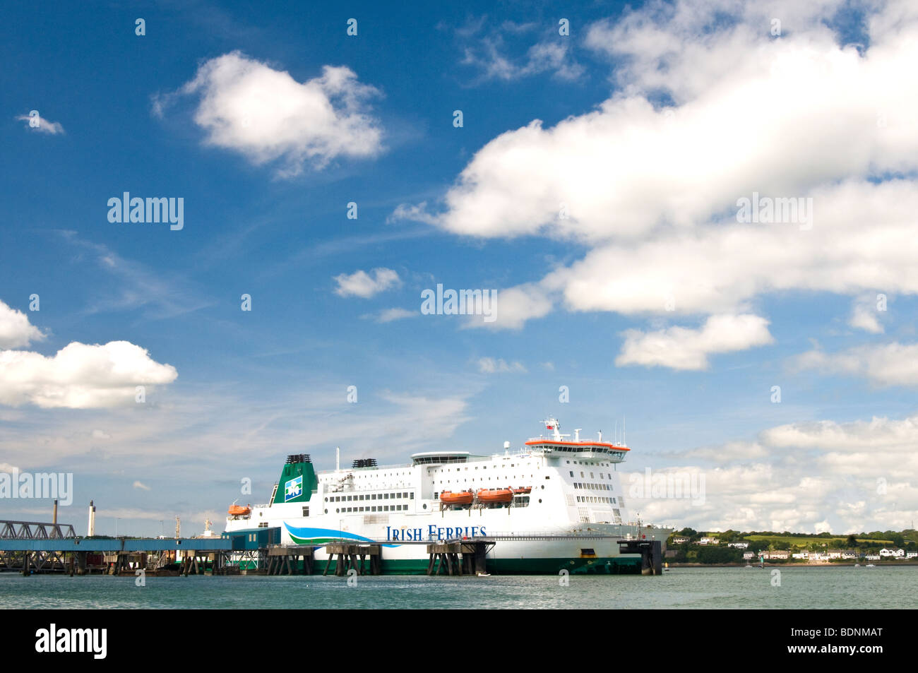 The Irish Passenger and Car Ferry Isle of Inishmore moored at Pembroke Dock in West Wales - Stock Image