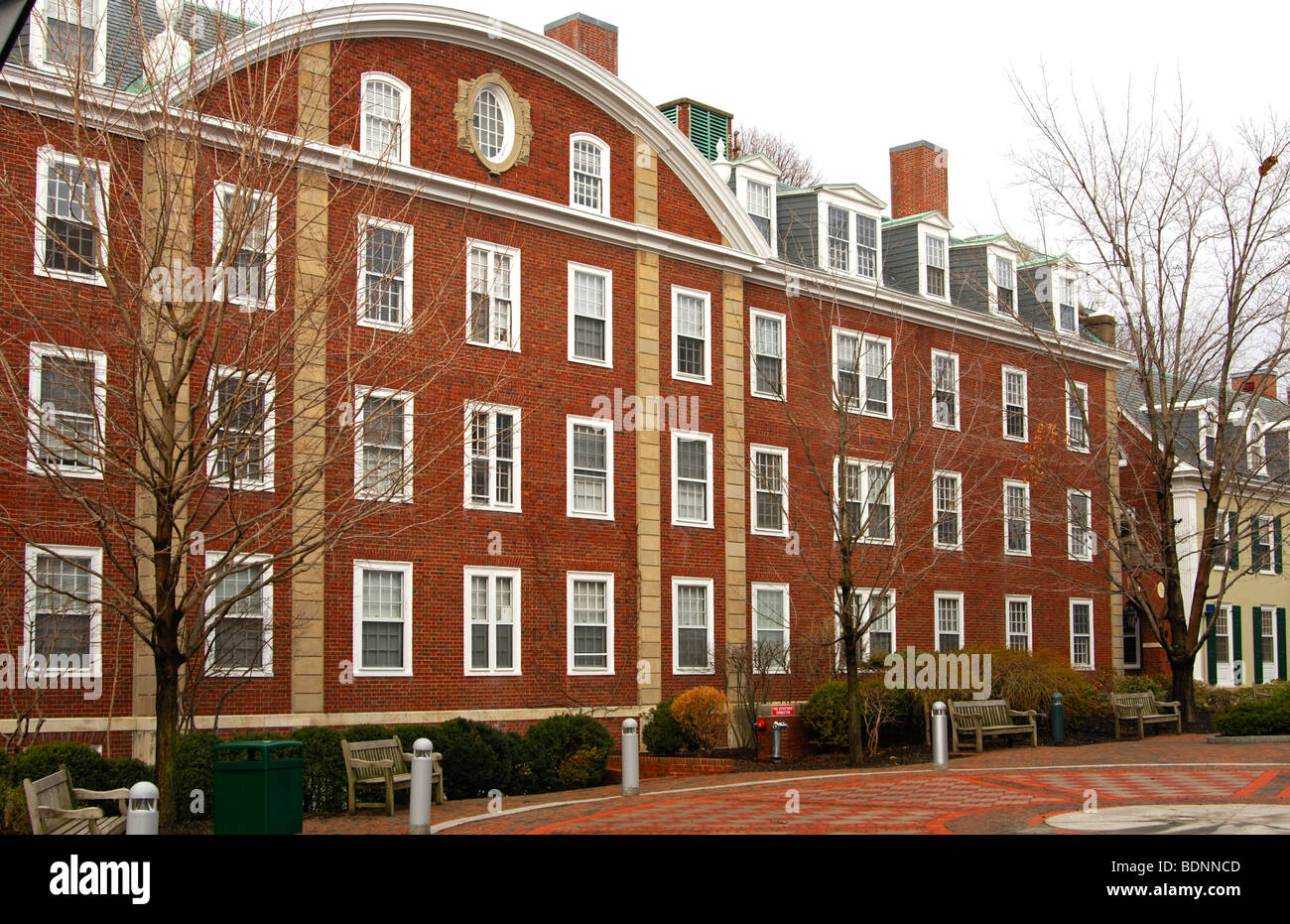 Students dorm on the campus of Harvard Business School, Harvard University, Allston, Boston, Massachusetts, USA - Stock Image