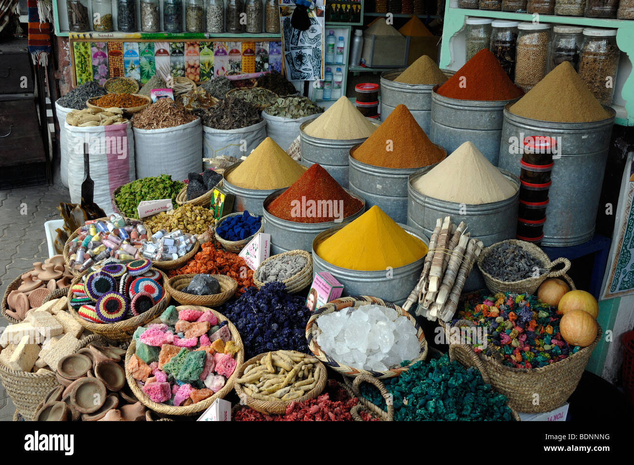Herb & Spice Stall or Herbalist in the Spice Market, Bazaar or Souk, Marrakesh, Morocco Stock Photo