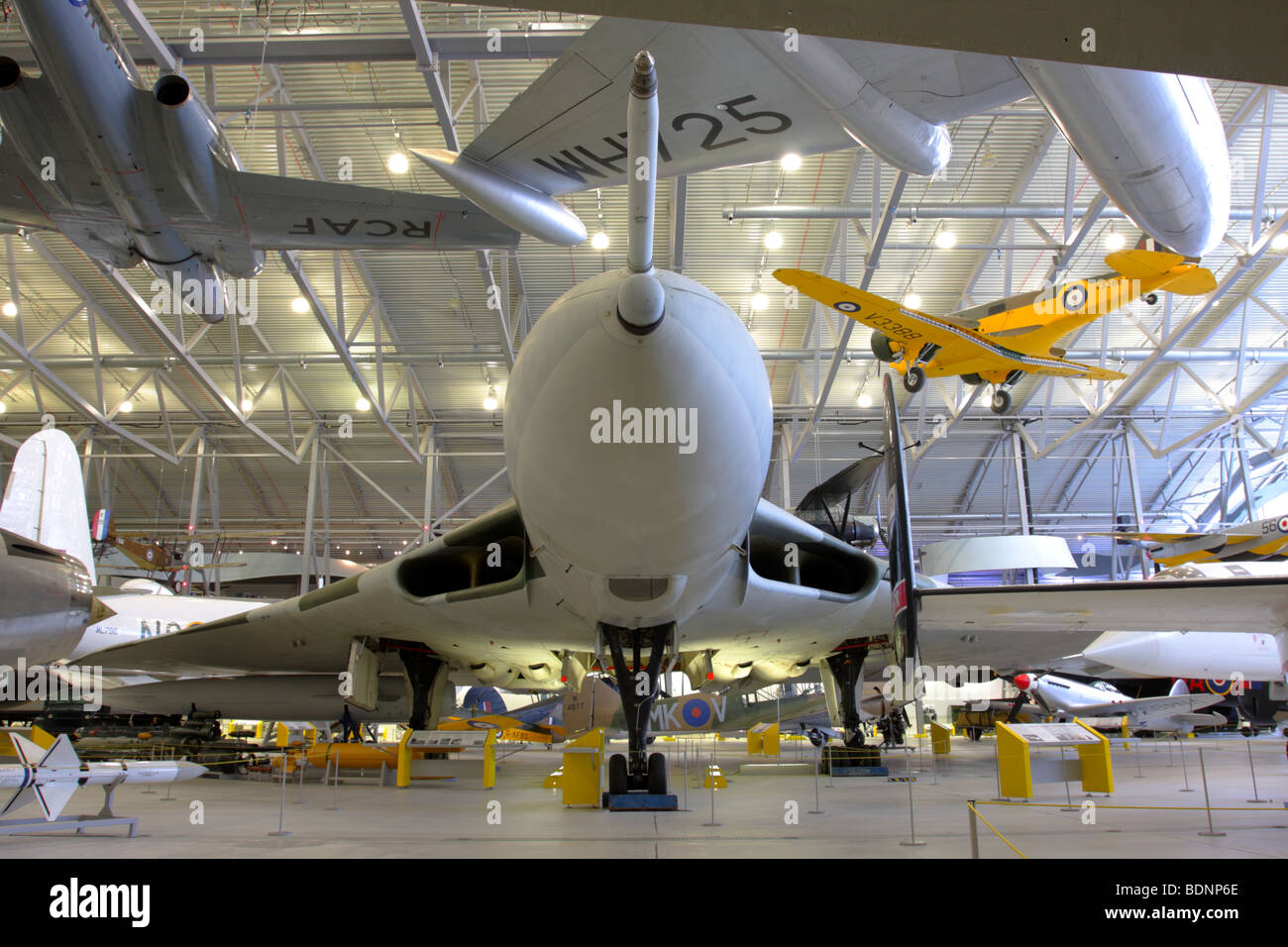 The Avro Vulcan 698 B2 strategic bomber,currently displayed in the Air Space Hangar,Imperial War Museum Duxford,England. - Stock Image