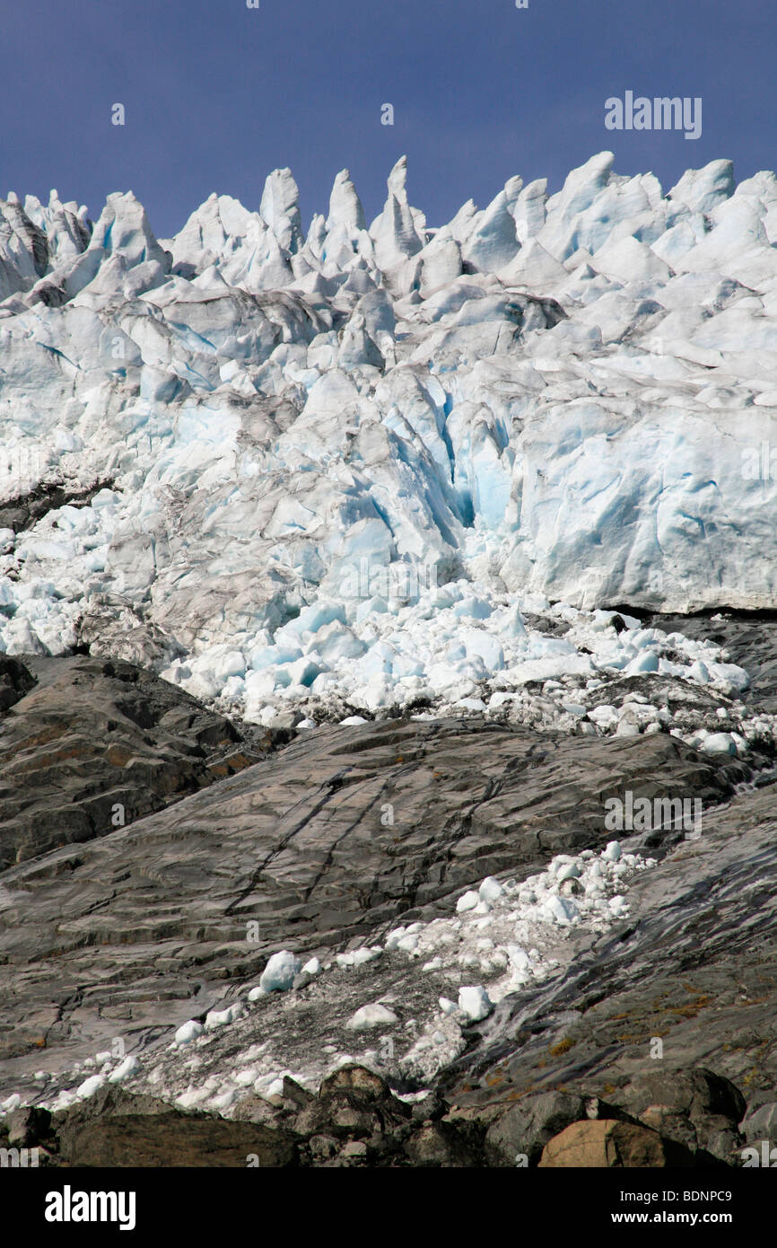 Galdhoøpiggen Styggebreen Glacier from the Visdalen ascent in the Jotunheimen National Park, Oppland, Norway, - Stock Image