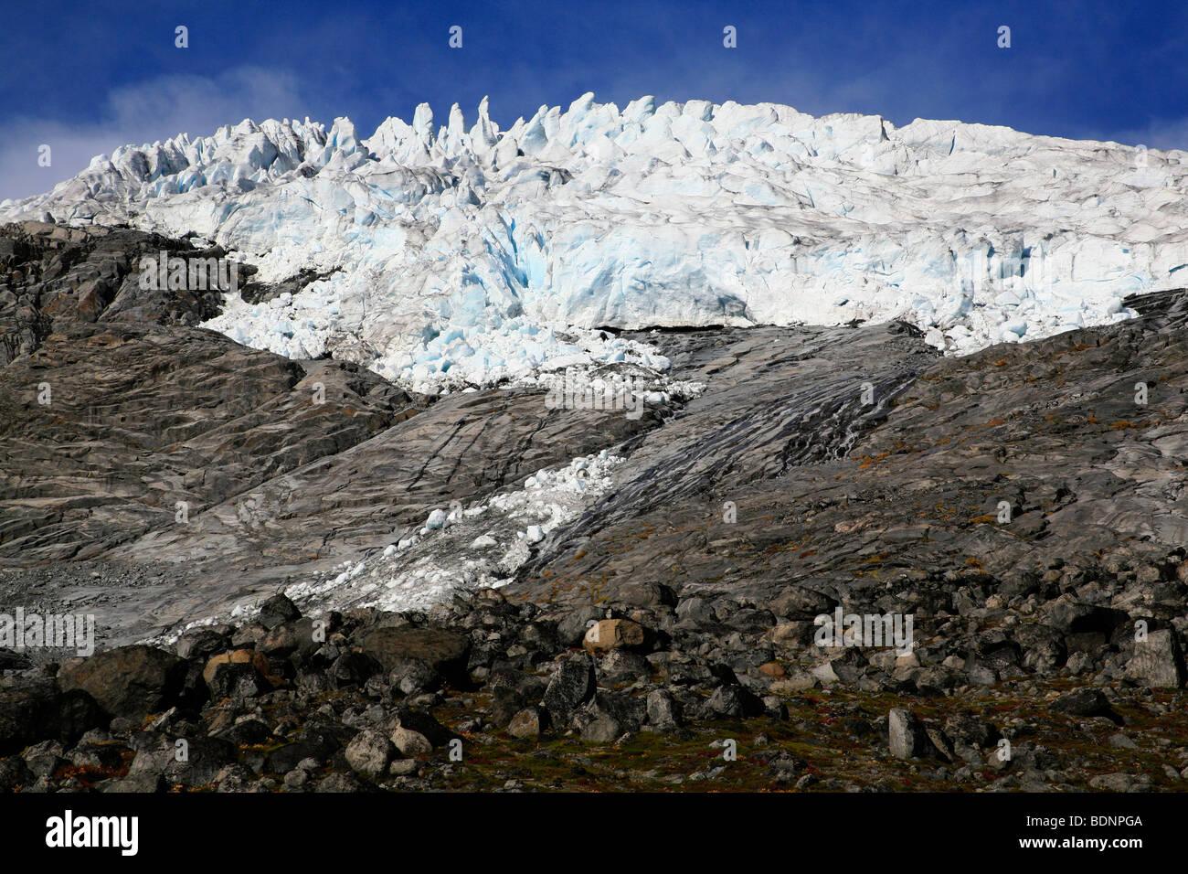 Galdhøpiggen Styggebreen Glacier from the Visdalen ascent in the Jotunheimen National Park, Oppland, Norway, - Stock Image