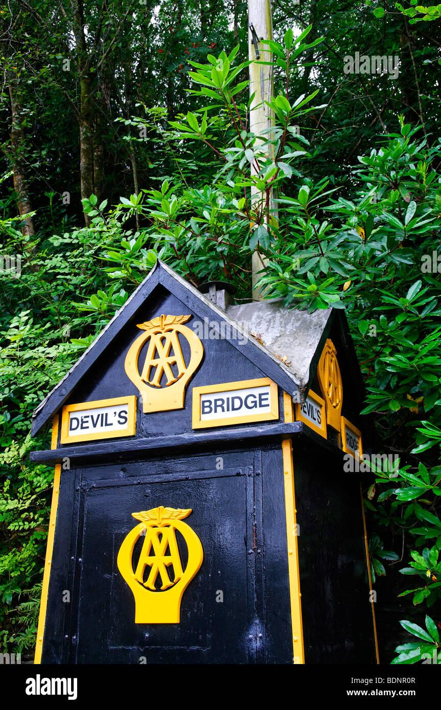AA Box, Devil's Bridge, Wales - Stock Image