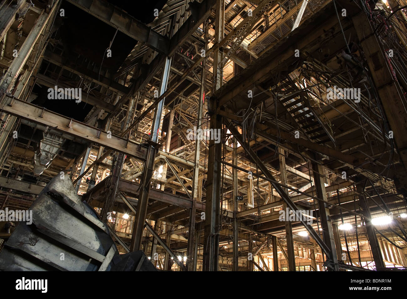 The steel structure of an old factory - Stock Image
