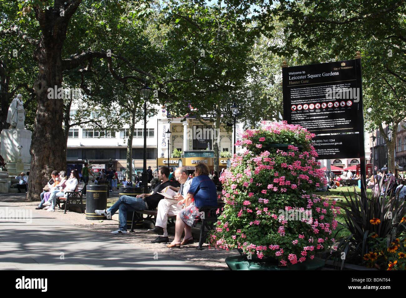 Leicester Square Gardens, London, England, U.K. - Stock Image