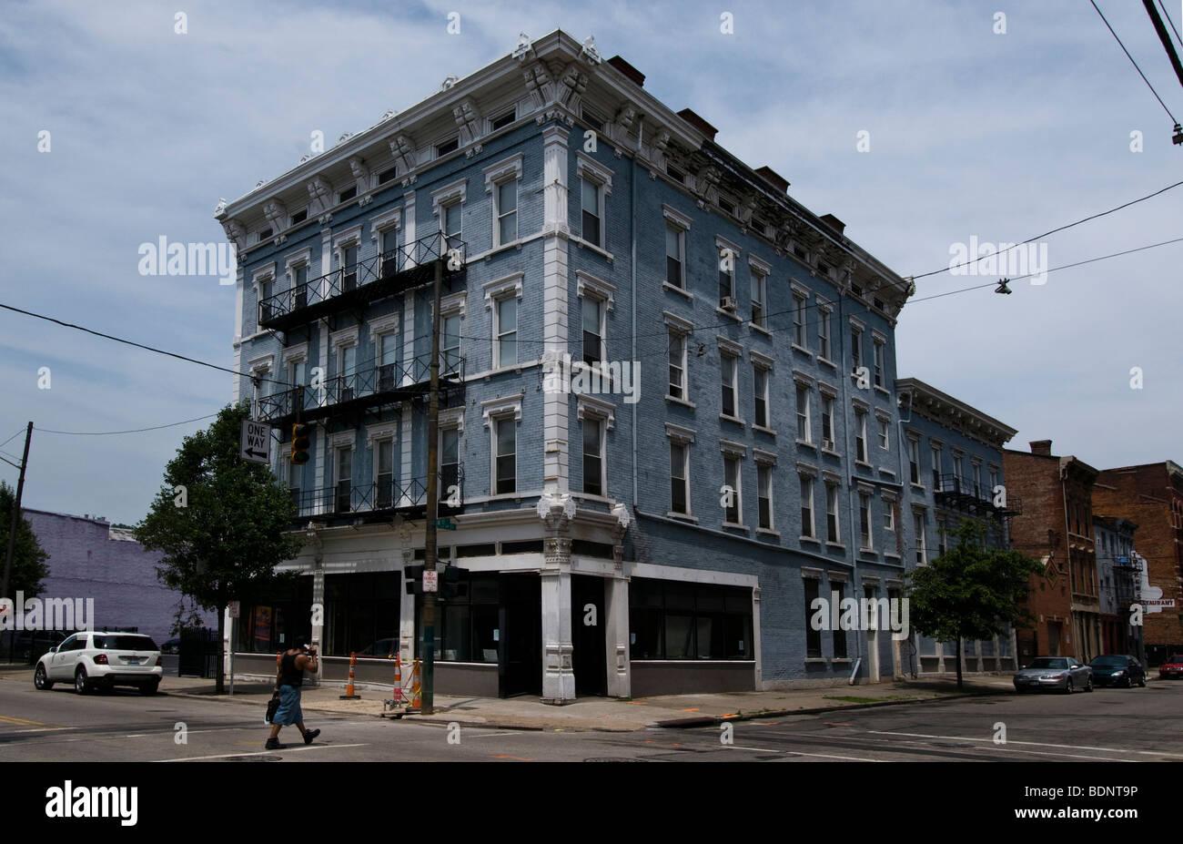 Renovated building in Cincinnati, Ohio, Over the Rhine area - Stock Image