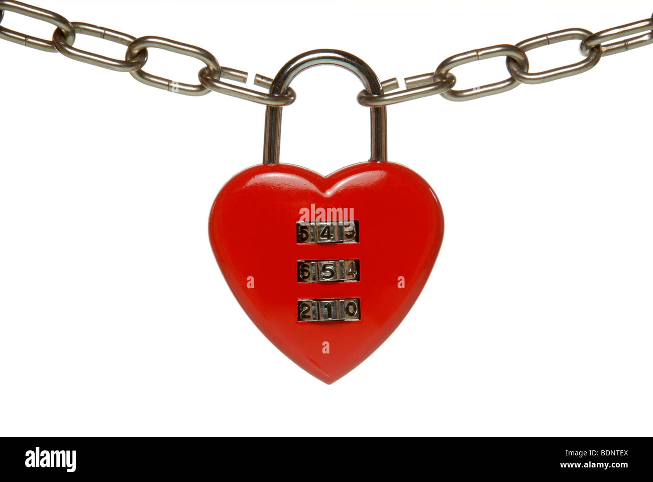 Heart lock with numeric code, symbolic image for finding a partner, knowing the correct code - Stock Image