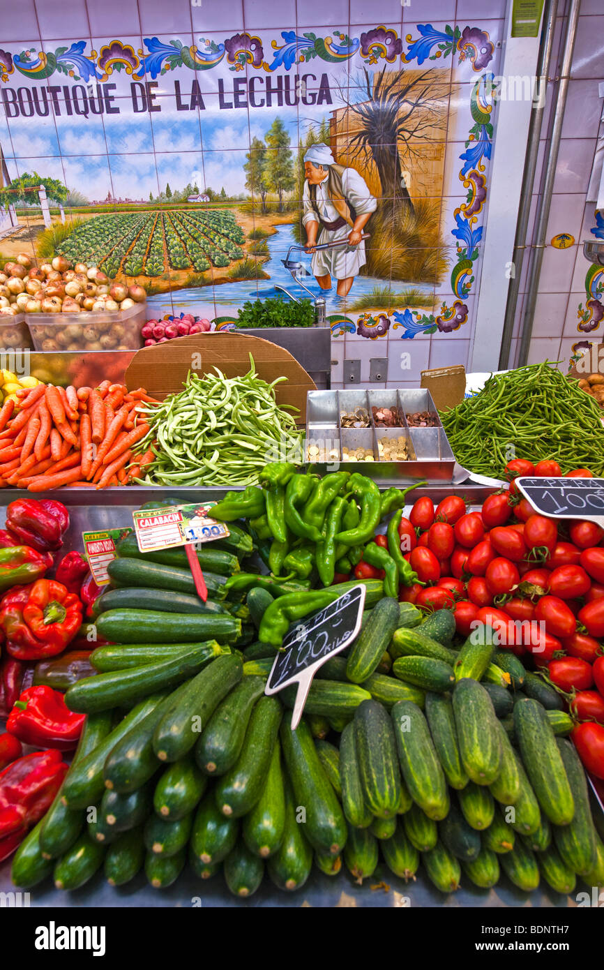 Vegetables for sale at the Mercat market, Valencia - Stock Image