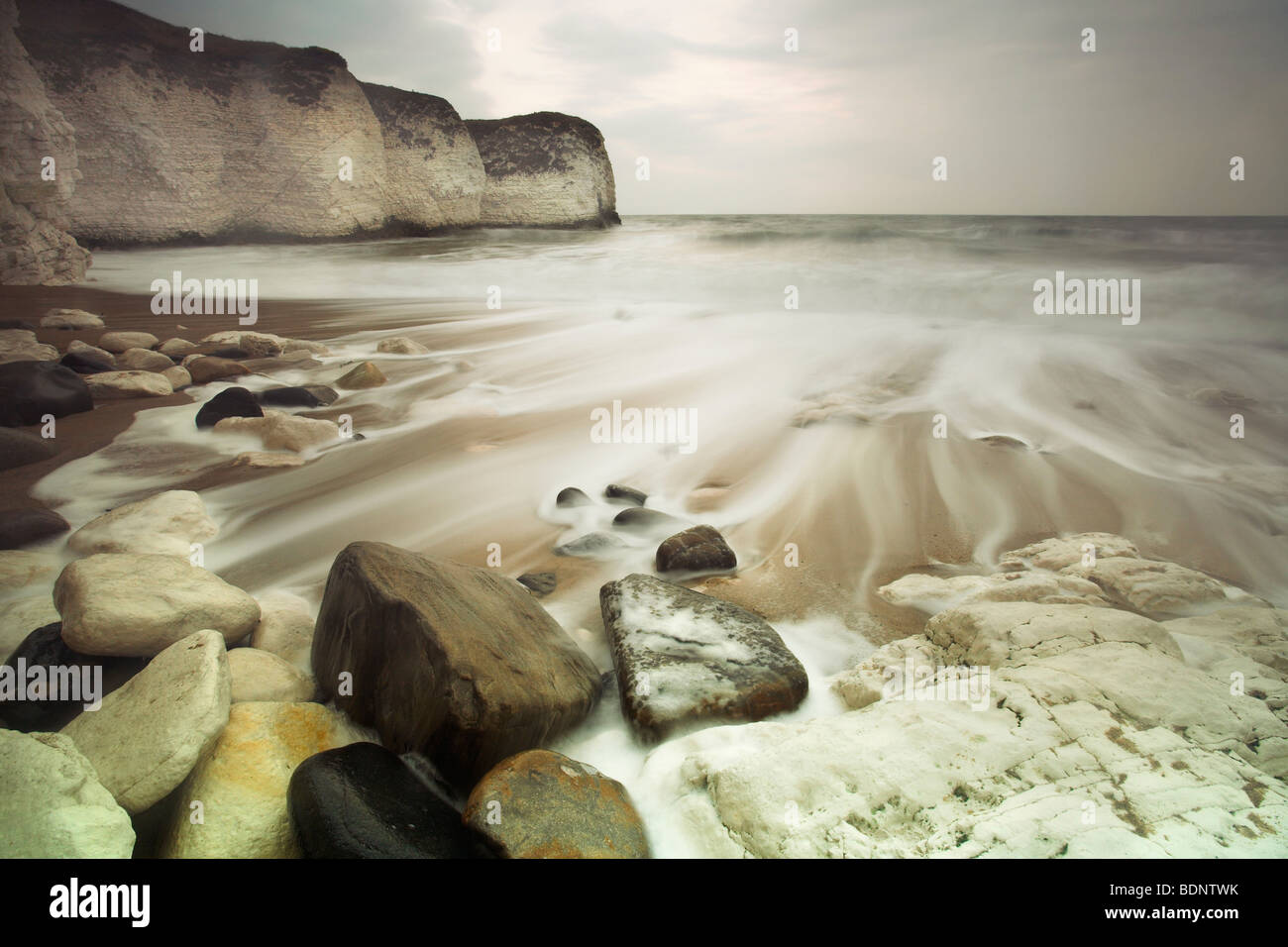 A coastline with chalk cliffs - Stock Image