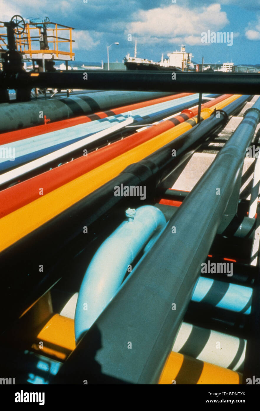 Pipes carrying oil to ships for transportation. St.Croix, Virgin Islands - Stock Image