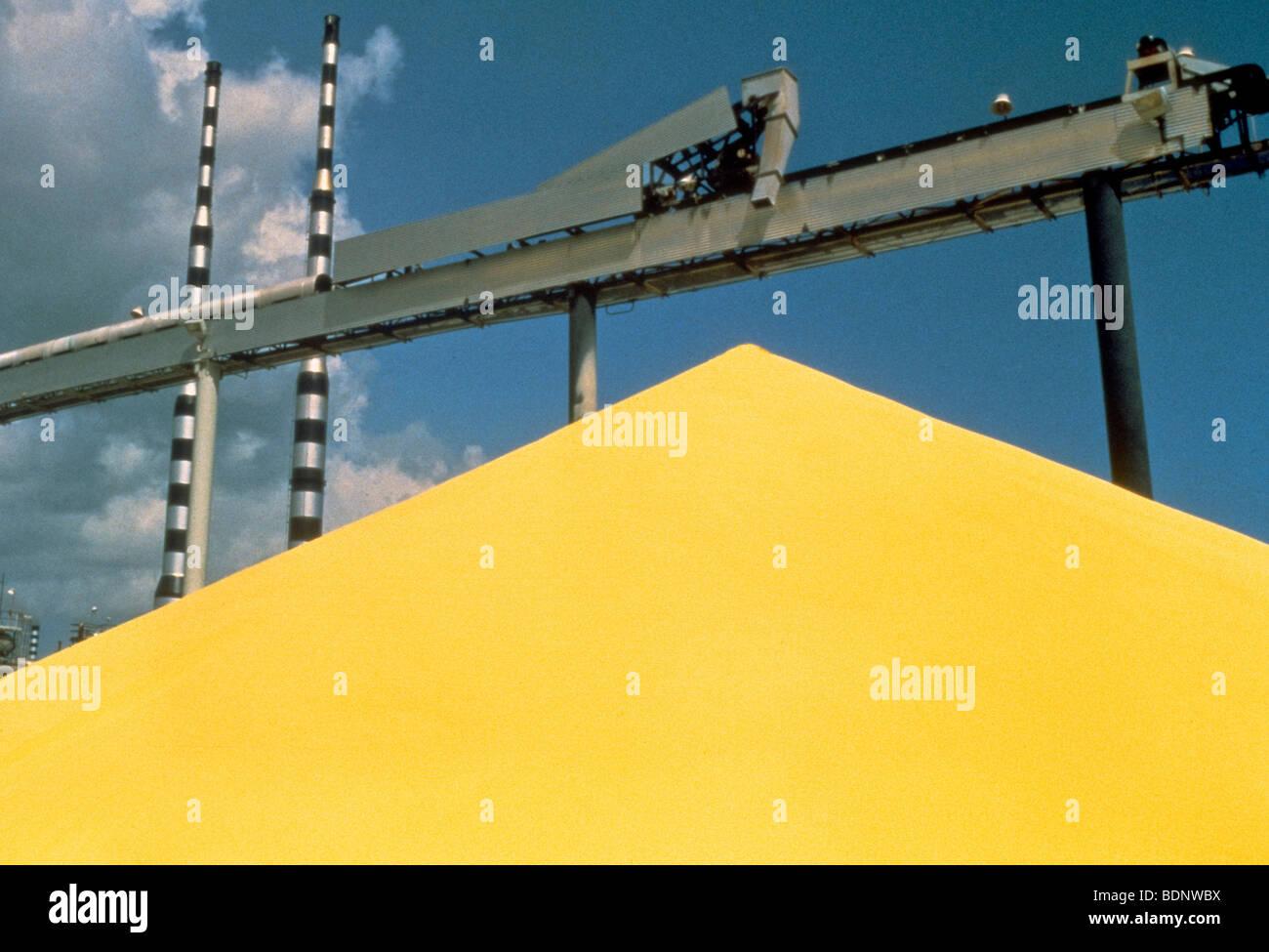Sulphur pile in St. Croix - Stock Image