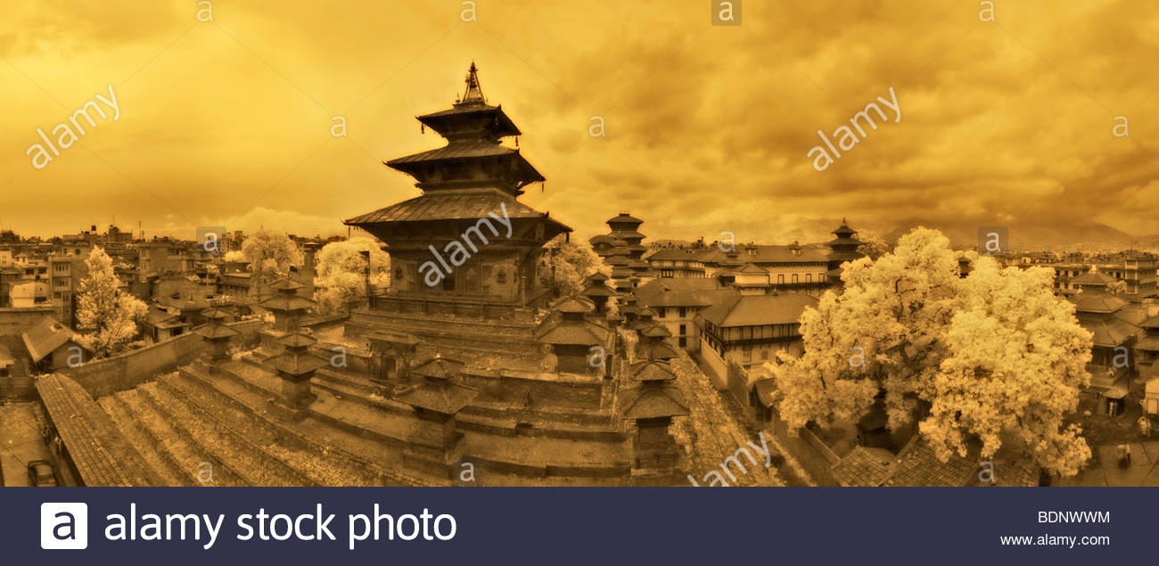 Kathmandu's historic Taleju temple in Durbar Square. Stitched panorama, infra red, sepia toned. - Stock Image