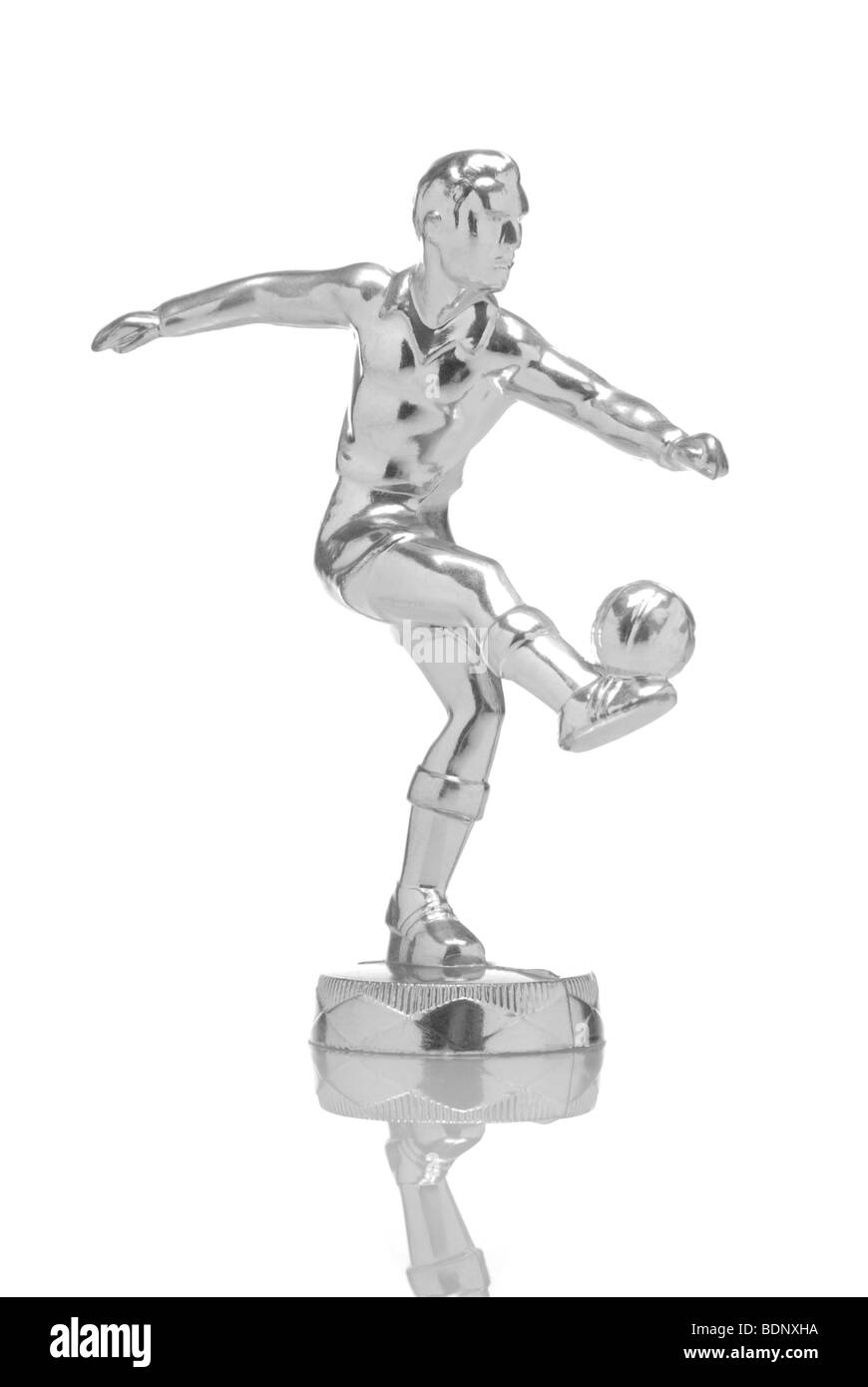 Football player made of chrome - Stock Image