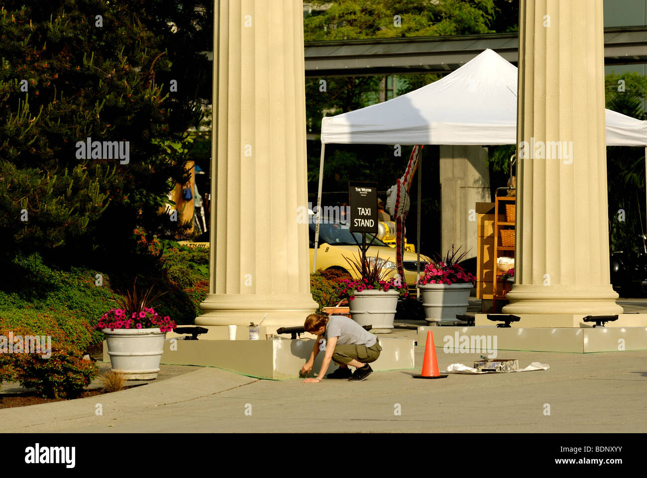 Movie Crew Members Placing Background Decorations For Percy Jackson