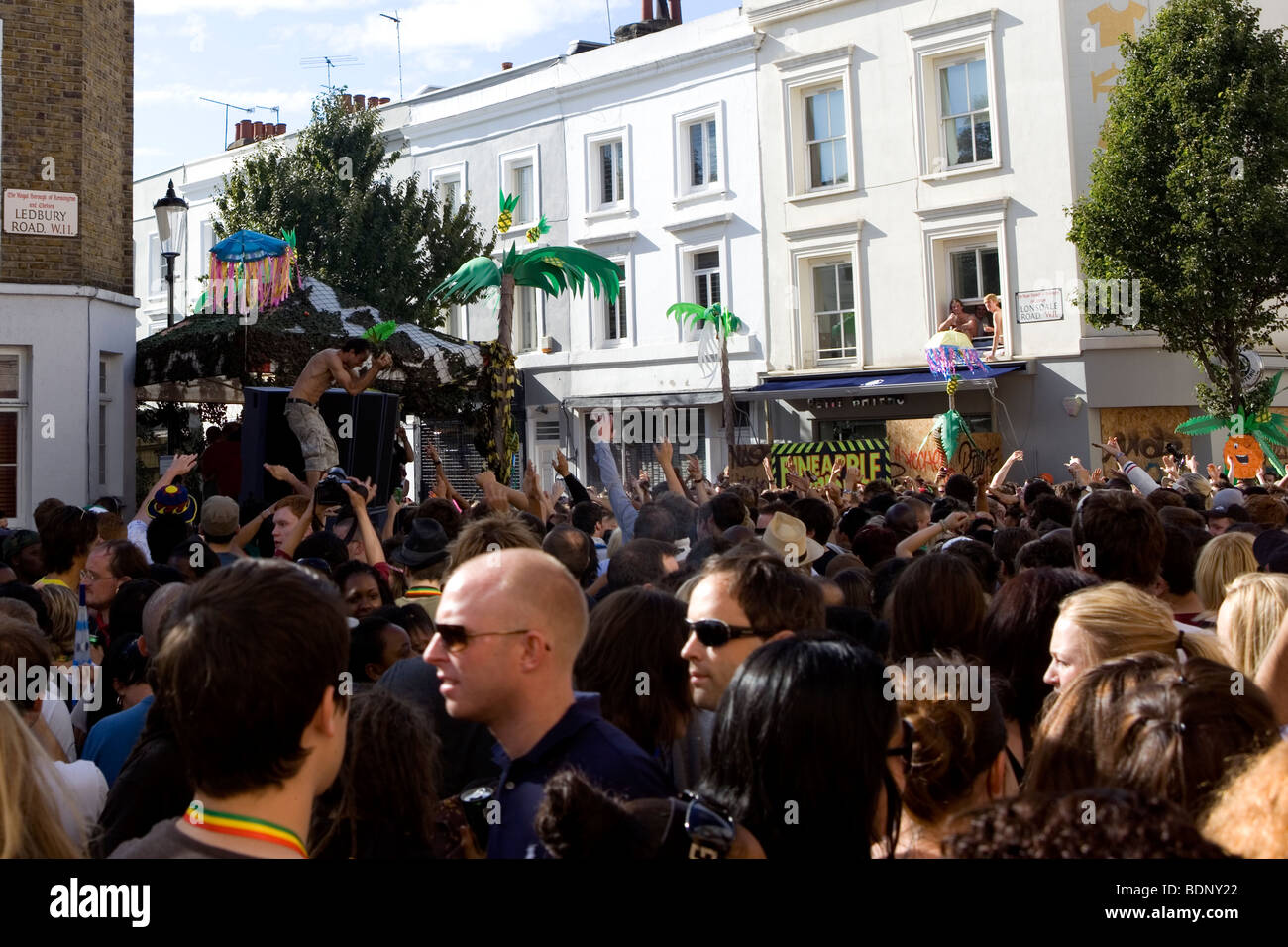 Crowd dancing at the Notting Hill carnival Pineapple tribe sound
