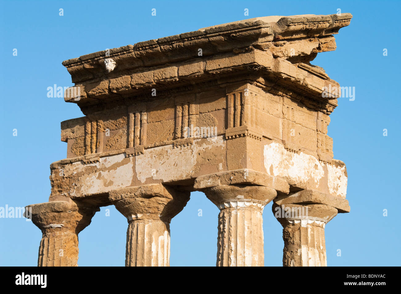 The so-called temple of Castor and Pollux in the Sanctuary of the Chthonic Divinities at Agrigento. Viewed from - Stock Image