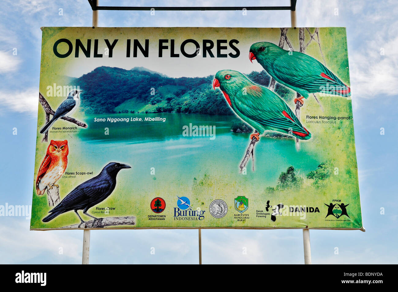 Sign with endemic birds at the airport, Labuan Bajo, Flores island, Indonesia, Southeast Asia - Stock Image