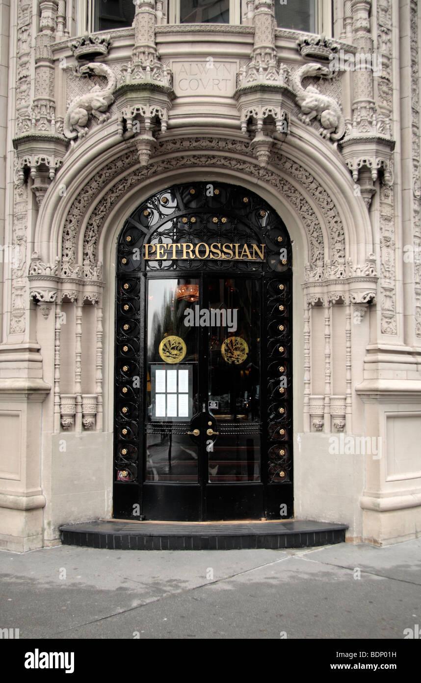The impressive entrance to Petrossian caviar restaurant, New York, United States. - Stock Image