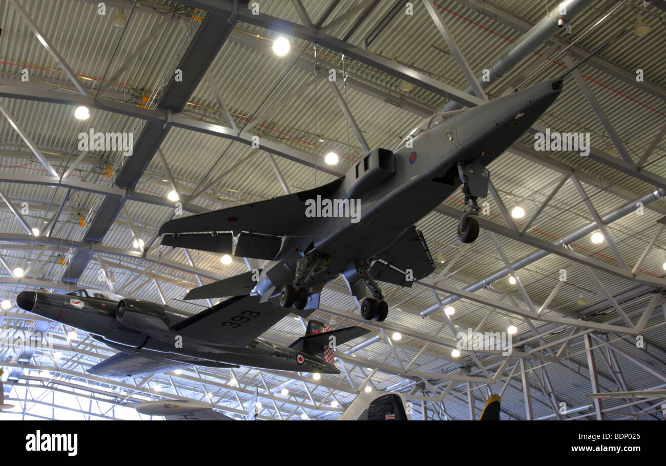 The Avro Canada CF-100 MK4 and the SEPECAT Jaguar GR1 aircraft,together in the Air Space Museum IWM Duxford,England. - Stock Image