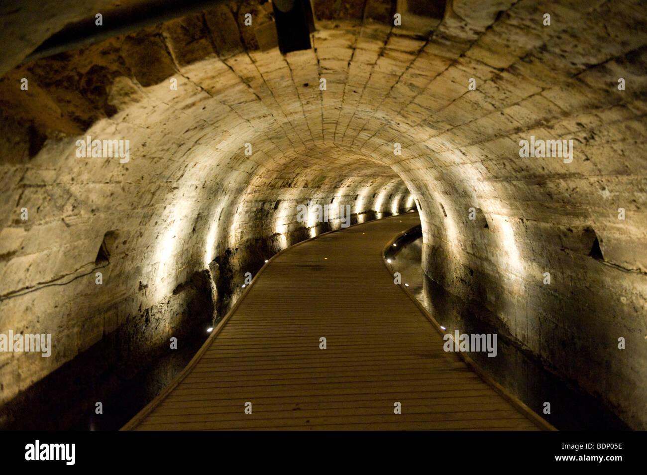 Tunnel of the knights templar in Akko. - Stock Image