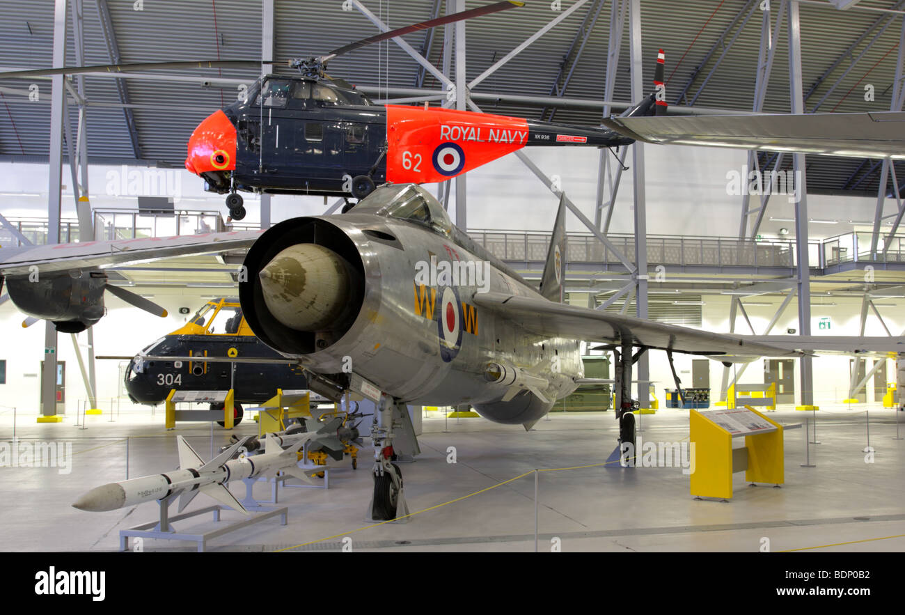 With it`s swept wings and huge front air intake is the English Electric Lightning jet interceptor,displayed in Air - Stock Image