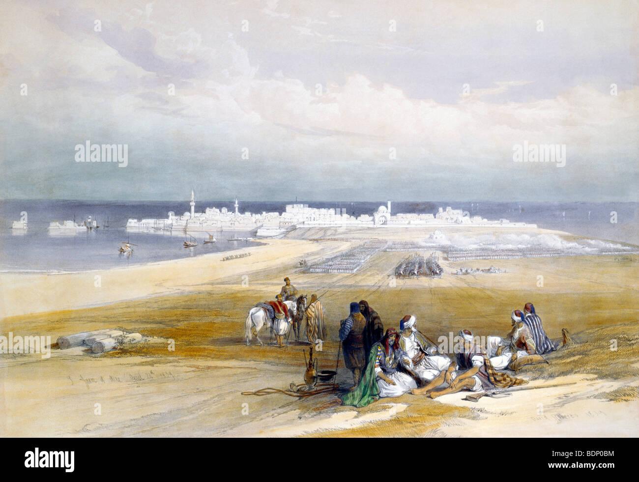 Oriental Painting Of Arab Travellers At St Jean D'Acre Eastern Medet Bay  Haifa 24th April 1839 - Stock Image