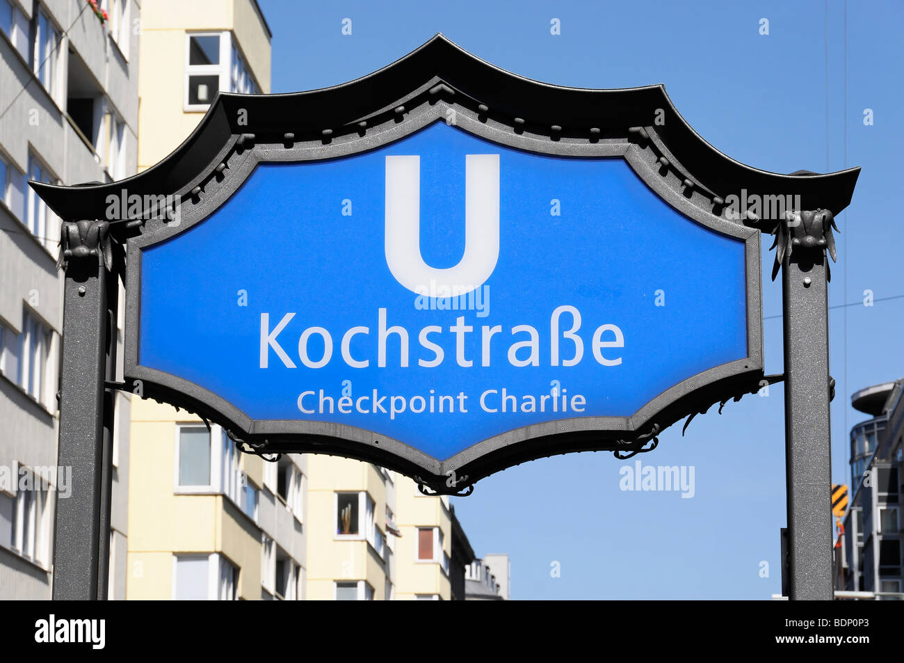 Underground sign, Kochstrasse, capital Berlin, Germany, Europe - Stock Image