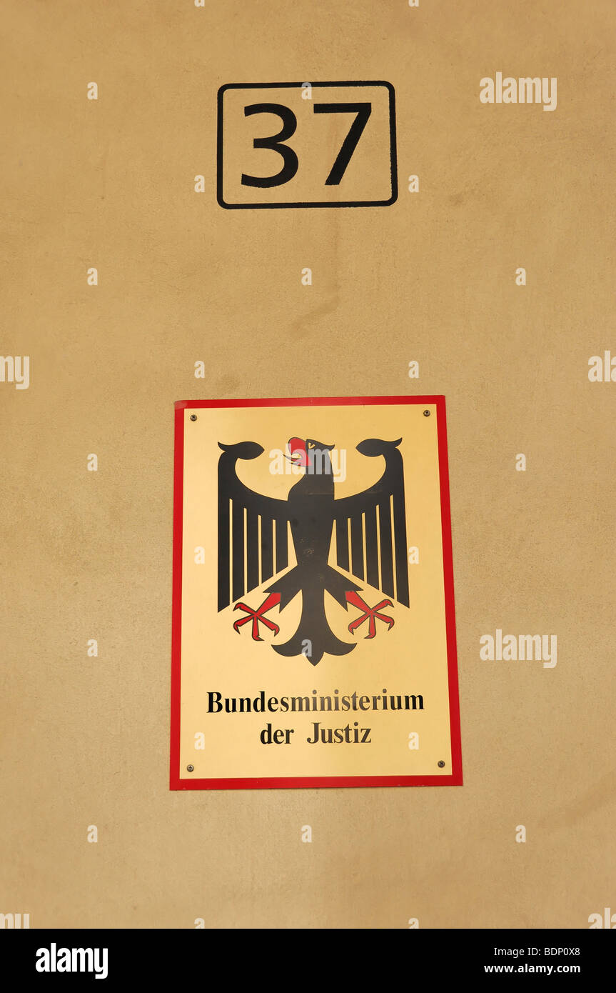 Sign, Bundesministerium der Justiz, Federal Ministry of Justice, federal capital Berlin, Germany, Europe - Stock Image