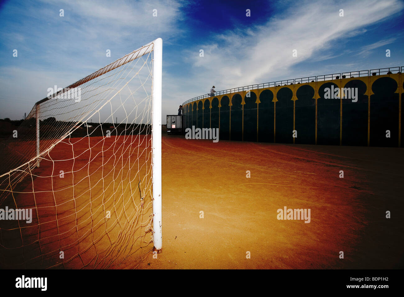 Typical Spanish: a temporary bullring on a football field - Stock Image