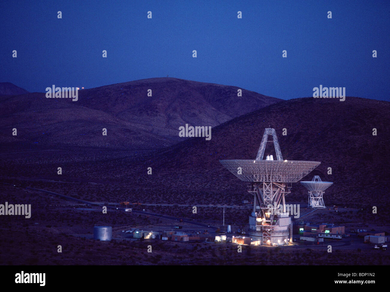 Deep Space Network, operated by NASA Jet Propulsion Laboratory, Mojave desert - Stock Image