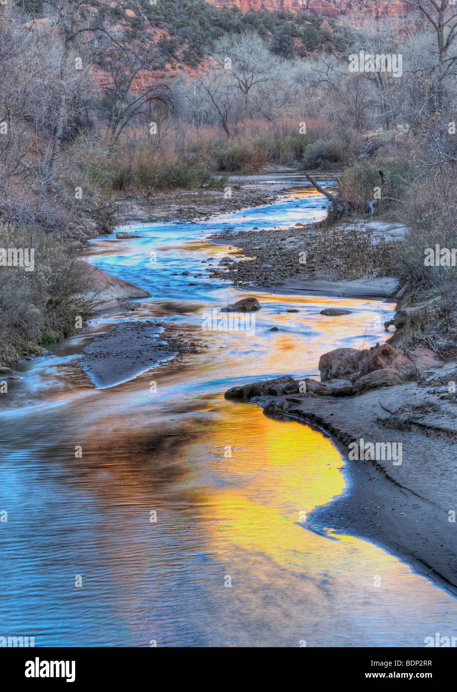 Virgin River in Zion National Park Utah - Stock Image