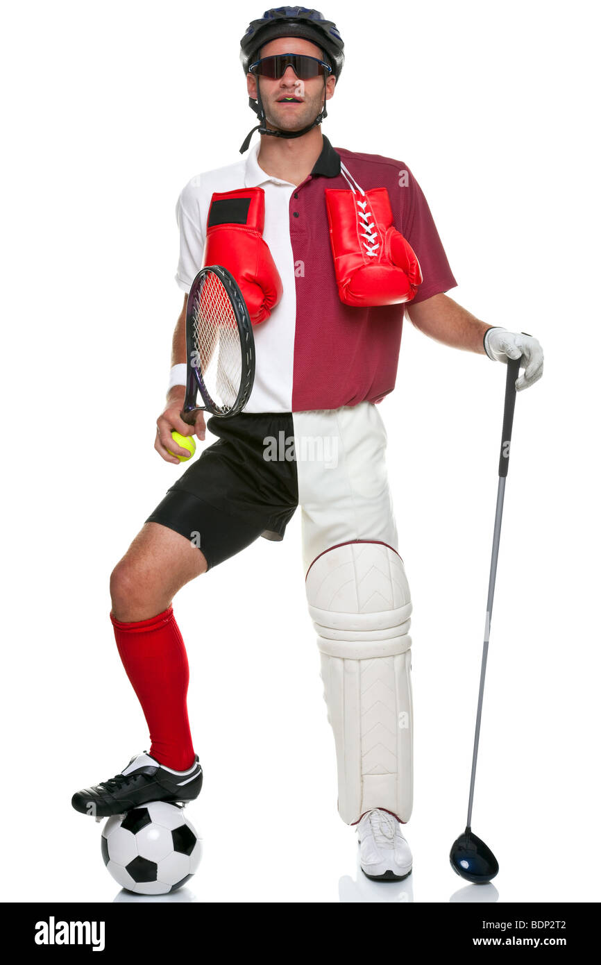 Concept image of a sportsman wearing various different sporting kit and equipment, isolated on a white background. - Stock Image