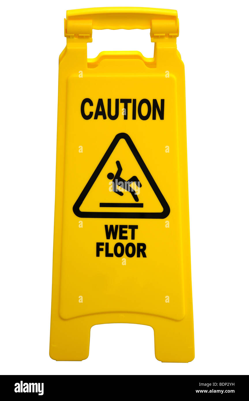 Yellow floor sign with words 'Caution wet floor' isolated over a white background - Stock Image