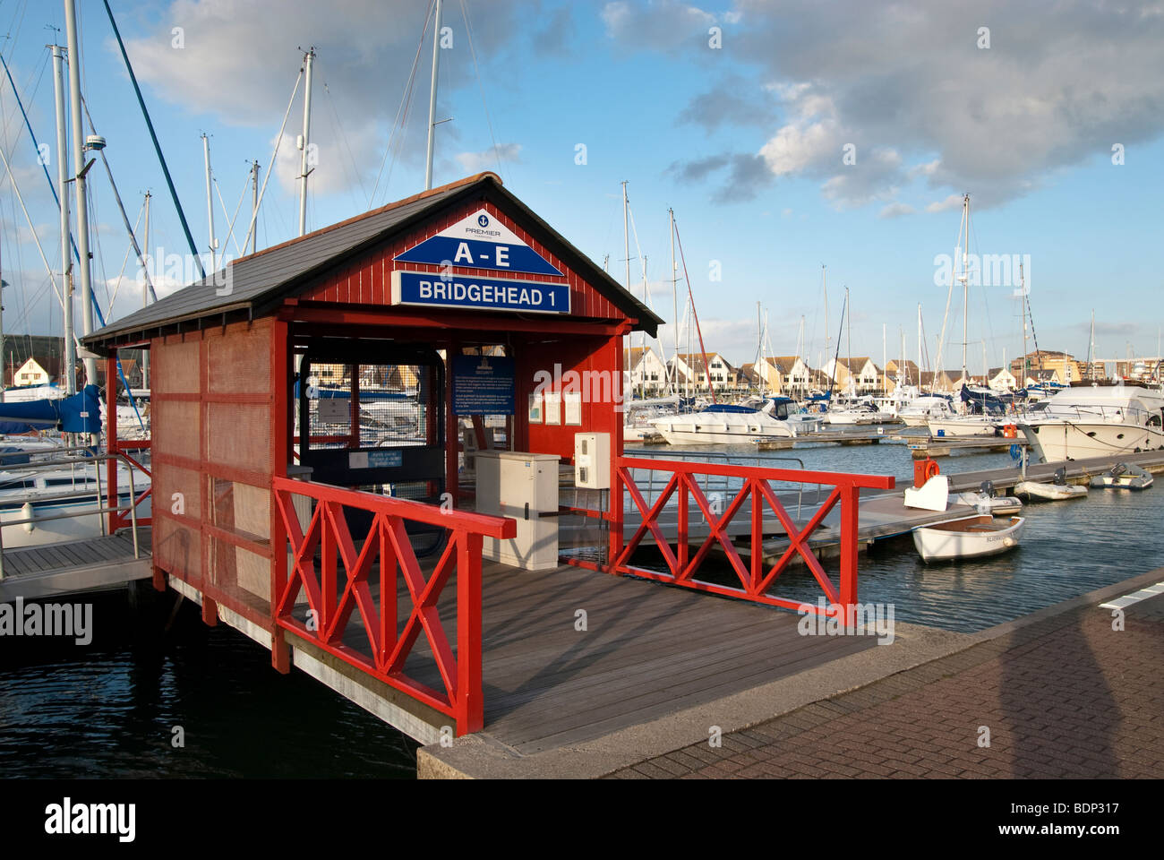 Bridgehead gate to jetty at Port Solent near Portsmouth - Stock Image