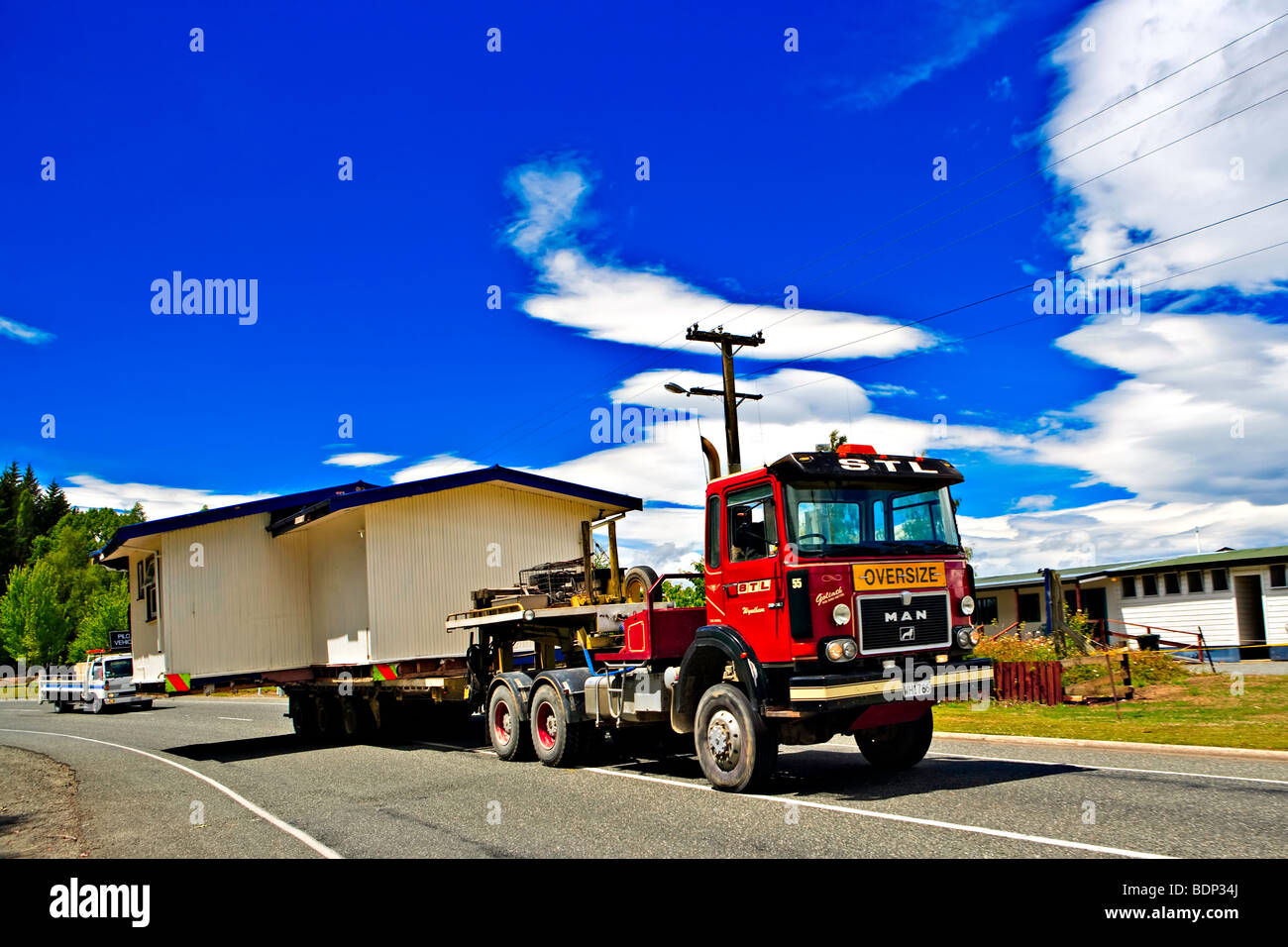 Moving House in Te Anau, Southland, South Island, New Zealand. Stock Photo